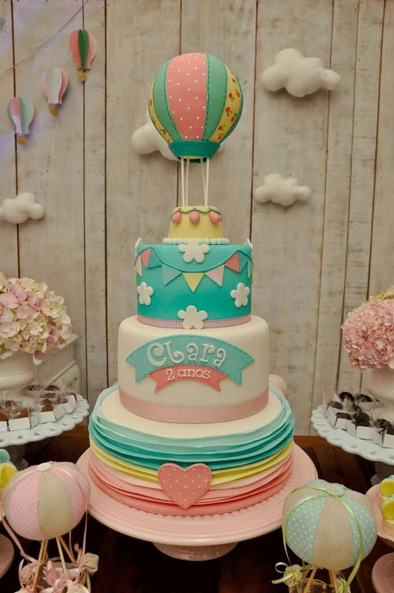Hot air balloon color cake for kids in dubai