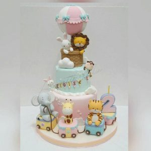Animal Character Air Balloon Cake