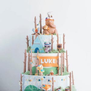 Cake for Kids | Green forest camp cake for kids in dubai