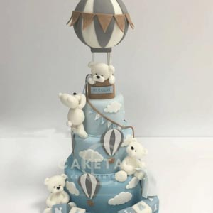 Cake for kids | White bear balloon cake for kids in dubai