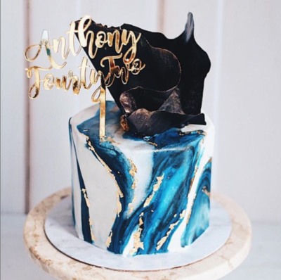 Marble Navy Blue Cake